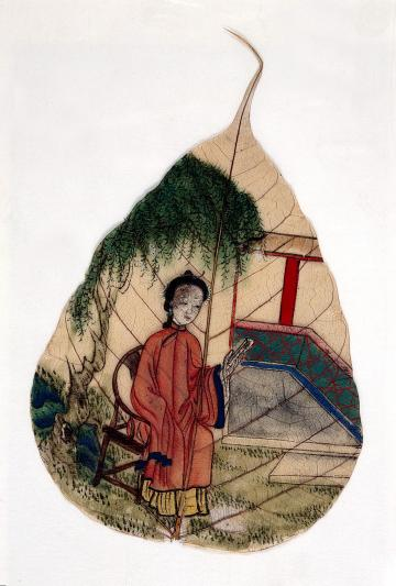 L0022489 Chinese painting on a tree leaf. Credit: Wellcome Library, London. Wellcome Images