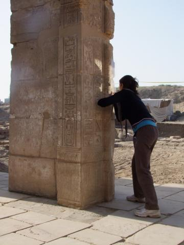 Doctoral student Chiara Salvador recording inscriptions in the temple of Ptah, Karnak (E. Frood)