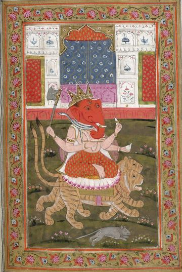 Miniature painting of Ganesh from a manuscript of Hindu rituals and devotional tracts. British Library Shelfmark: Oriental MS 13757