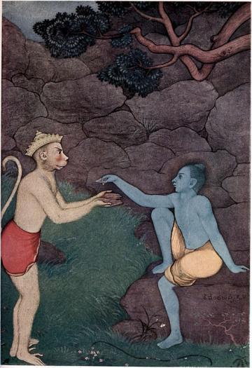 Myths of the Hindus & Buddhists (1914) p. 64: Rama sending his signet-ring to Sita by K. Venkatappa